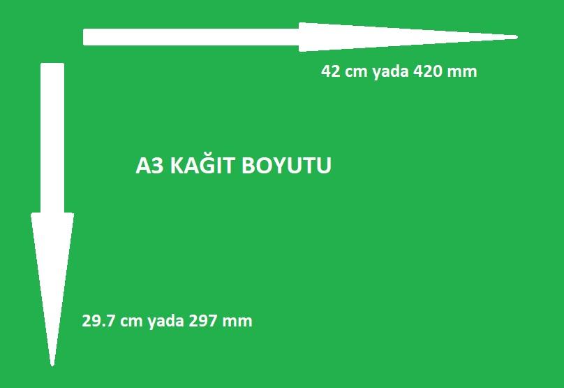 a3 kağıt ölçüsü cm ve mm olarak